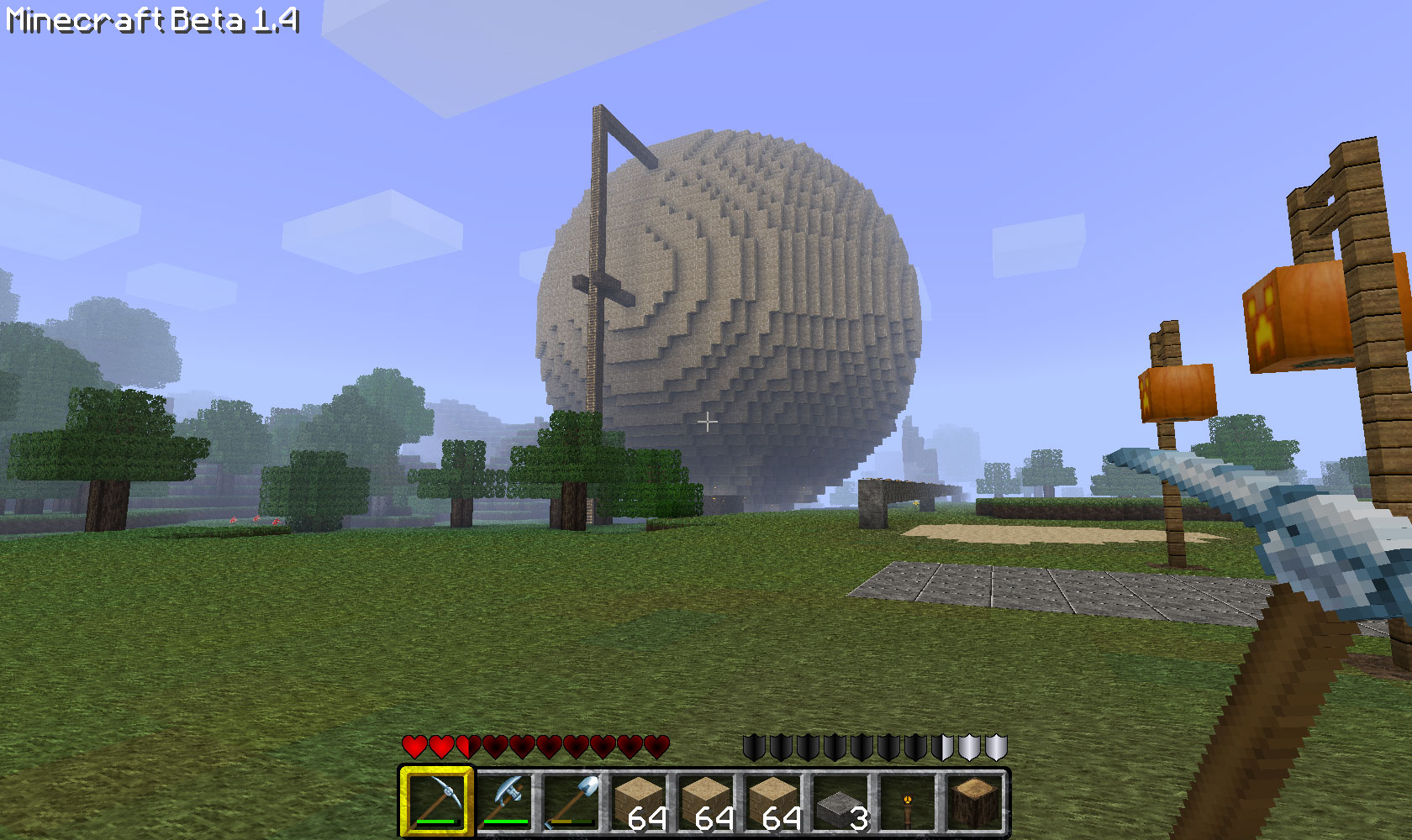 How to build a hollow sphere in minecraft