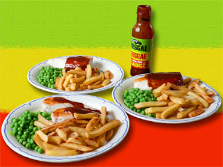 chicken breast, chips, peas and reggae reggae sauce